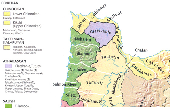 Oregon map of Chinookan, Takelman-Kalapuyan, Athabascan and Salish